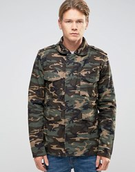 Bellfield Camo Print Military Style Jacket Camo Green