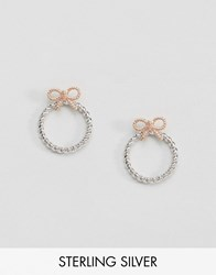 Olivia Burton Vintage Bow Hoop Earrings Mix Silver Rose Gold