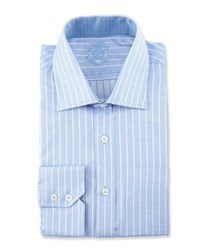 English Laundry Striped Long Sleeve Dress Shirt Blue