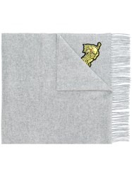 Kenzo Tiger Embroidered Scarf Grey