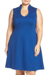 Adrianna Papell Sleeveless Ponte Fit And Flare Dress Plus Size Blue