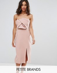 True Decadence Petite Exagerated Bow Detail Bandeau Midi Dress Nude Pink