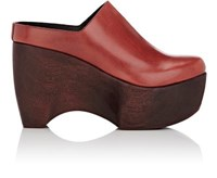 Simon Miller Women's Leather Platform Clogs Red Burgundy Red Burgundy
