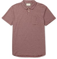 Oliver Spencer Harper Slim Fit Striped Cotton Jersey Polo Shirt Red