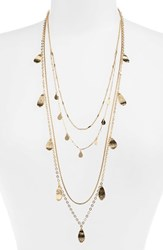 Halogen Layered Petal Long Necklace Gold