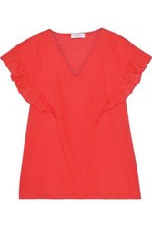 Isolda Woman Angela Ruffle Trimmed Cotton Top Coral