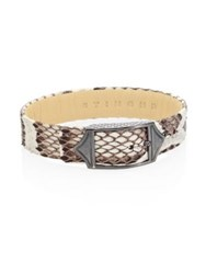 Stinghd Luxe Platinum Plated Pure Silver And Python Leather Buckled Bracelet Red White