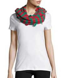 Collection 18 Holiday Striped Infinity Scarf Green