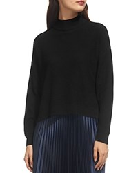 Whistles Textured Funnel Neck Sweater Black