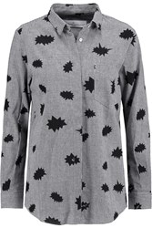 Golden Goose Houndstooth Jacquard Linen Blend Shirt Black