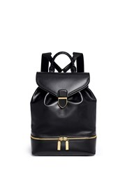 Alexander Mcqueen Drawstring Top Flap Leather Backpack Black