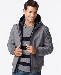 Tommy Hilfiger Men's Big And Tall Double Layer Hooded Bomber Coat Heather Grey Navy