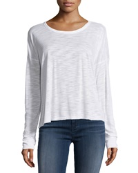 Neiman Marcus Boat Neck 3 4 Sleeve Jersey Tee White