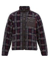 Burberry Westly Checked Technical Fleece Jacket Navy