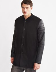 Religion Jaxson Leather Sleeve Bomber Black