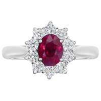 Ewa 18Ct White Gold Ruby And Diamond Cluster Engagement Ring 1.11Ct