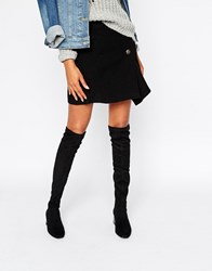 Mango Suedette Over The Knee Heeled Boot Black