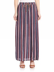 Splendid Beachcomber Stripe Maxi Skirt Friday Red Navy