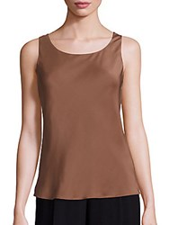 Lafayette 148 New York Silk Double Georgette Bias Tank Top Teak