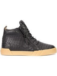 Giuseppe Zanotti Design Crocodile Embossed Hi Top Sneakers Black