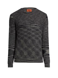 Missoni Crew Neck Long Sleeved Wool Sweater Black Multi