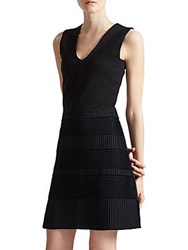 French Connection Pleated Lace Jersey Dress Black