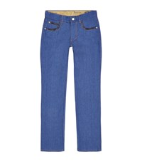 Billionaire Urban Fit Alligator Trim Jeans Male Blue