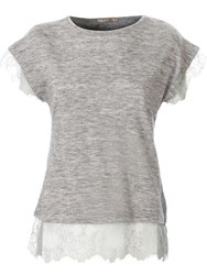 Red Soul Lace Embellished Top Grey