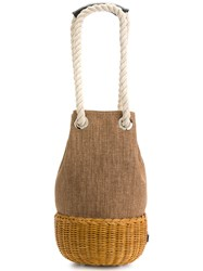 Rodo Rattan Bucket Tote Brown
