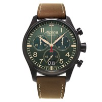 Alpina Men's Startimer Chronograph Fabric Strap Watch Brown Military Green