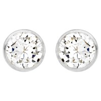 Ibb 9Ct White Gold Small Rubover Cubic Zirconia Stud Earrings White Gold