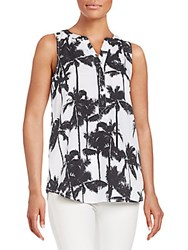 Kensie Palm Print Top White Combo