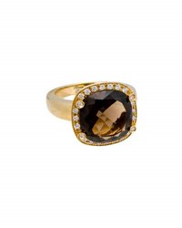 Poiray 18K Yellow Gold Cushion Cut Smoky Quartz And Diamond Ring Brown