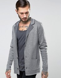 Asos Knitted Blazer With Metallic Yarn In Slim Fit Charcoal And Silver Grey