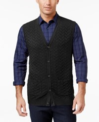 Tasso Elba Men's Big And Tall Chevron Sweater Vest Only At Macy's Deep Black