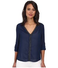 Christin Michaels Sheer Dahlia Blouse Sequin With Roll Up Sleeve And Tab Navy Women's Blouse
