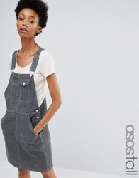 Asos Tall Cord Dungaree Dress In Washed Khaki Olive Green