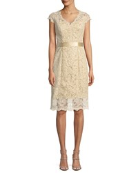 La Femme Cap Sleeve Belted Lace Cocktail Dress Nude