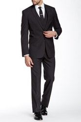 Kenneth Cole Reaction Charcoal Grid Two Button Notch Lapel Suit Gray