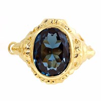 Metal Couture London Blue Topaz Lioness Ring Gold