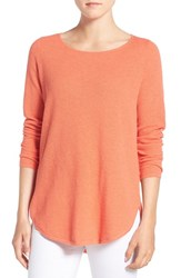Eileen Fisher Women's Organic Cotton And Cashmere Ballet Neck Pullover Guava