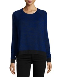 Rag And Bone Camden Long Sleeve Two Tone T Shirt Electric Blue