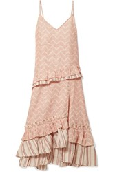 Lemlem Imani Ruffled Embroidered Cotton And Silk Blend Gauze Midi Dress Ecru Gbp