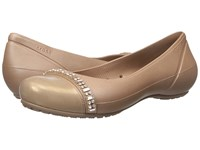 Crocs Cap Toe Rhinestone Band Flat Bronze Bronze Women's Flat Shoes
