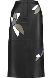 Tibi Appliqued Leather Midi Skirt Black