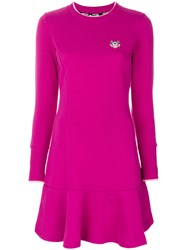 Kenzo Tiger Crest Fit And Flare Dress Cotton S Pink Purple