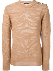 Balmain Zebra Jacquard Sweater Nude And Neutrals