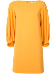 Tibi Boat Neck Flared Dress Yellow Orange