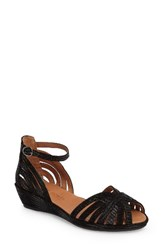 Gentle Souls Women's 'Leah' Peep Toe Wedge Sandal Black Black Leather