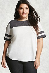 Forever 21 Plus Size Colorblock Tee Ivory Charcoal